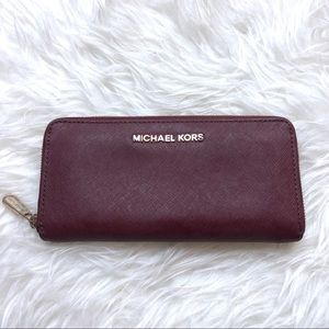 Michael Kors | Burgundy Zip Around Wallet
